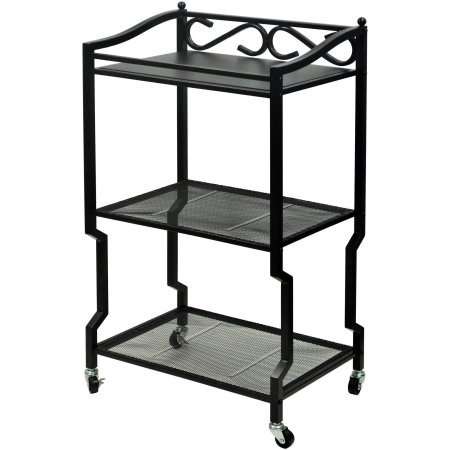 Better Homes and Gardens Chapter Oil-Rubbed Bronze Finish 3-Shelf White with Weathered Wood Metal and Wood Bathroom Storage Cart
