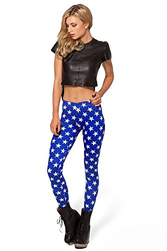 Ensasa Women'S Fashion Digital Print Blue Stars Spandex Strenchy Leggings, Blue Large (Wonder Woman Boots)