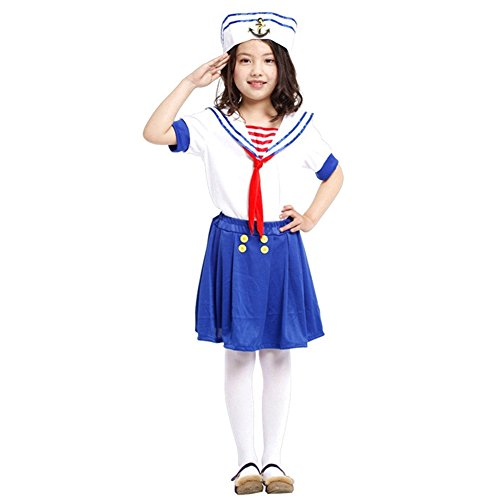 LOLANTA Girls Navy Halloween Costume Children Marine Cosplay Fancy Dress Outfit (5-6)