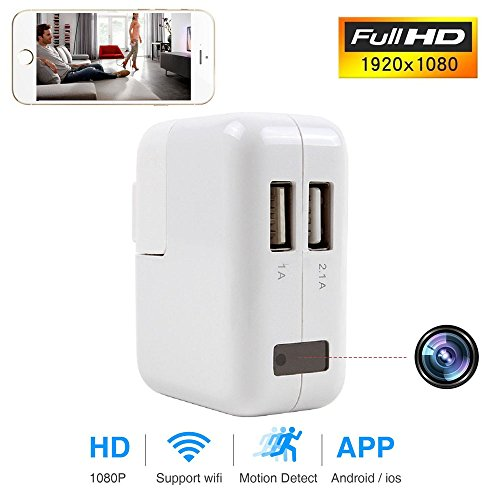 FreSky Wi-Fi Wall Charger Security Camera with Dual Port USB Adapter Power Plug, Home Security 1080P HD Nanny Camcorder Cam Pet Cam with Live View