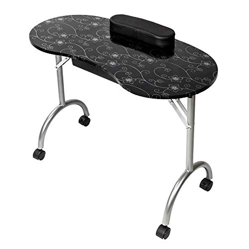Nail Station Salon Furniture - Mefeir Portable Manicure Nail Table, Foldable MDF Laminated Home Nail Beauty Technician Desk, Spa Salon Workstation with Drawer, Client Wrist Pad and Carrying Bag, Black