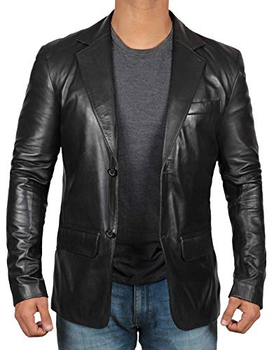 (fjackets Black Leather Jacket Men - Genuine Lambskin Mens Leather Blazer | [1500564], Black Blazer L)