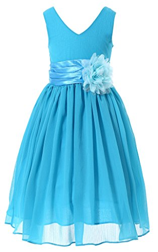 Bow Dream Flower Girl Dress Junior Bridesmaids V-Neckline Chiffon Blue 3