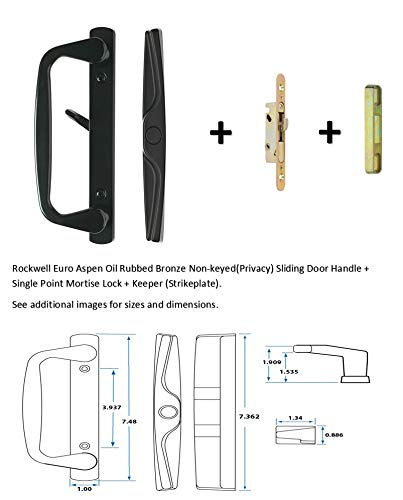Rockwell Euro-Aspen Sliding Door Handle in Black Finish with 3-15/16 inch Center to Center Screwholes, Mortise Lock and Keeper Included fits up to 1-3/4 inch Thick Doors with a 3 or 4 Hole bore ()