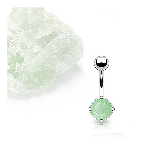 West Coast Jewelry Surgical Steel Prong-Set Jade Semi Precious Stone Navel Belly Button Ring (Sold Ind.)