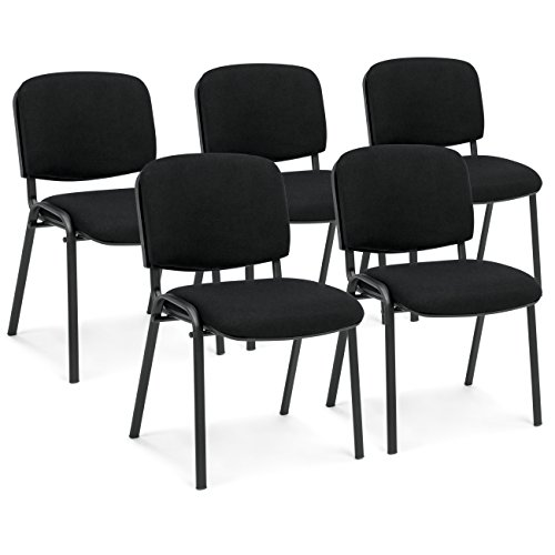 Best Choice Products Set of 5 Heavy-Duty Ergonomic Conference Room Office Chairs (Black) by Best Choice Products