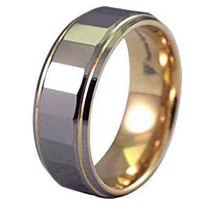 Fantasy Forge Jewelry 18K Gold Plated Mens Tungsten Ring