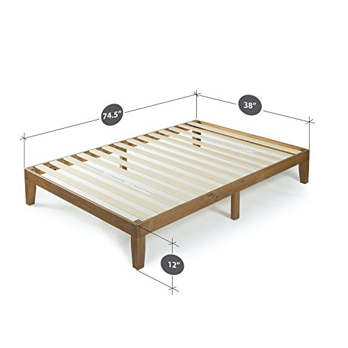 Zinus 12 Inch Wood Platform Bed/No Boxspring Needed/Wood Slat Support/Rustic Pine Finish, Twin