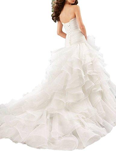 Cathedral Floor Wedding ASBridal Length Ivory Dresses Princess Strapless Train 1rw5wqYF