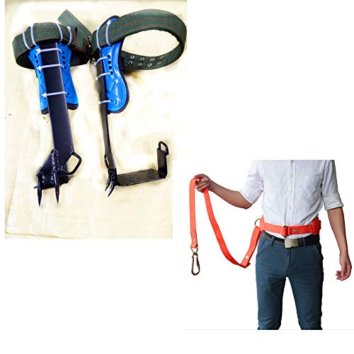 HUAWELL Tree Climber Set Includes Cushioned Pads Tree Climbing Spikes Together with Safely Belt Gears for Cutting Trees Cement Pole