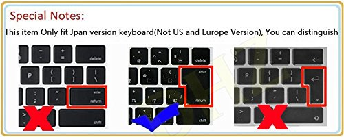 """DHZ® Japanese/English Keyboard Cover for MacBook Pro 13"""" 15"""" 17"""" Aluminum Unibody and MacBook Air Retina 13"""" JP Japan Version Keyboard Layout Silicone Skin (Gradient Green Rainbow)"""