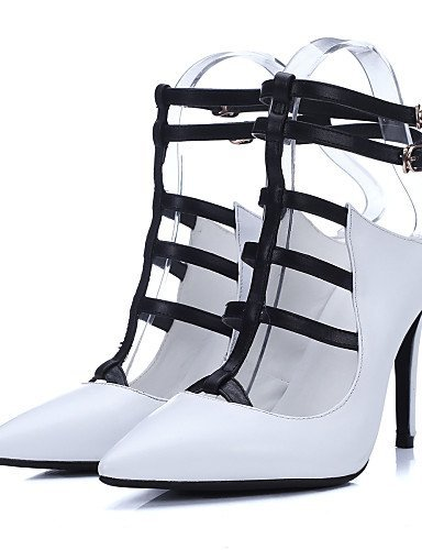leather Genuine Slingback Toe Evening Leather White Heel Shoes Dress Women's ShangYi Sandals Party Stiletto Pointed amp; BwATTp