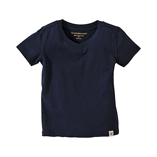Burt's Bees Baby Baby Boys' T-Shirt, Short Sleeve V-Neck and Crewneck Tees, 100% Organic Cotton, Navy, 6-9 Months