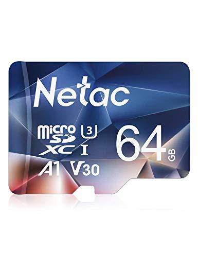 Netac 64GB Micro SD Card, microSDXC UHS-I Memory Card - 100MB/s, 667X, U3, Class10, Full HD Video V30, A1, FAT32, High Speed Flash TF Card P500 for Smartphone/Bluetooth Speaker/Tablet/PC/Camera