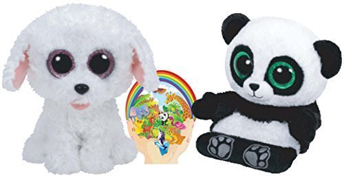 Ty Beanies Boos White Dog PIPPIE and Smartphone Holder Panda Poo set of 2 Friends 6-8 inches tall with Bonus Animals Sticker