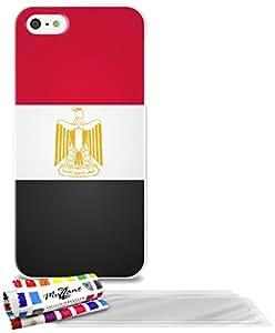 """Carcasa Flexible Ultra-Slim APPLE IPHONE 5S / IPHONE SE de exclusivo motivo [Bandera Egipto] [Blanca] de MUZZANO  + 3 Pelliculas de Pantalla """"UltraClear"""" + ESTILETE y PAÑO MUZZANO REGALADOS - La Protección Antigolpes ULTIMA, ELEGANTE Y DURADERA para su APPLE IPHONE 5S / IPHONE SE"""