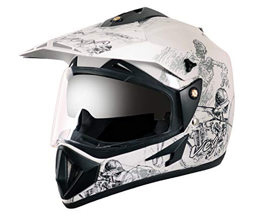 Vega Off Road Sketch White Silver Helmet