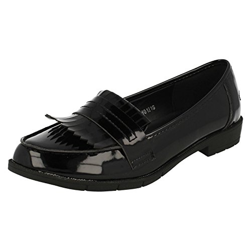 Spot On Ladies Smart Fringed Loafers - Black Patent - UK Size 5 - EU Size 38 - US Size 7 oQwtmdNidZ