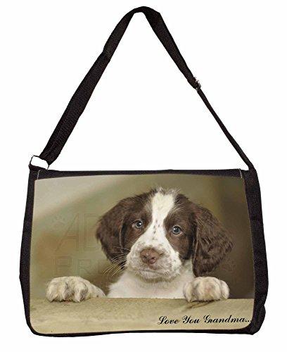 Springer Spaniel Pup Grandma Large 16 Black School Laptop Shoulder Bag nTg75O