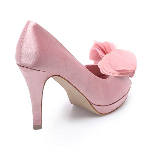La Modeuse-Sandalias plateado peep-toes de froufrous con plataforma Rosa - rosa