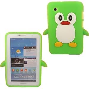 Penguin Silicona Cubrir Caso Piel Para Samsung Galaxy Tab 2 7.0 P3100 / Green