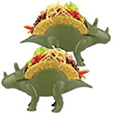 California Home Goods Triceratops Dinosaur Taco Holder 2 Pack - Prehistoric Taco Stand for Jurassic Taco Tuesday and Dinosaur Parties - Holds 2 Tacos - The Perfect Gift for Kids & Adult Taco Lovers