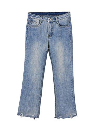 les para Vintage Alta Bota Cintura COCO Tobillero Pants Look clothing Tejana Corte Larga Mujer Slim Senora Pantalones Used Ripped Vaqueros Jeans Straigth SZZqRY7x