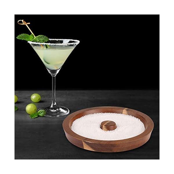 TMKEFFC Rimmer Vetro Cocktail Piatto di Sale in Legno per l'aggiunta di Sale e Zucchero a Cocktail, Margarita, Bevande… 6 spesavip