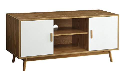 Nesting Traditional Table - Convenience Concepts Oslo Television Stand, Woodgrain/White