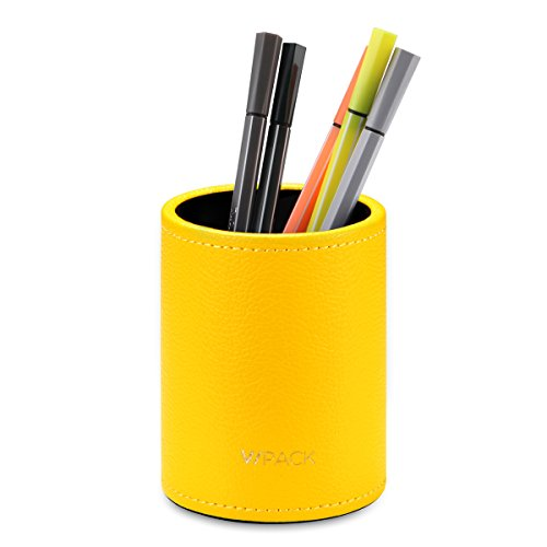 Canary Cup (VPACK PU Leather Round Pencils Cup Pen Holder Desk Stationery Organizer (Canary Yellow))