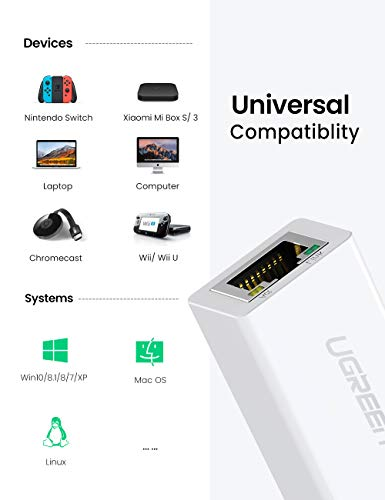 UGREEN Ethernet Adapter USB 2.0 to 10 100 Network RJ45 LAN Wired Adapter Compatible for Nintendo Switch Wii Wii U MacBook Chromebook Windows Mac OS Surface Linux ASIX AX88772 Chipset White
