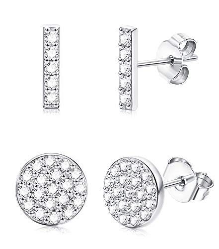 FUNRUN JEWELRY 2 Pairs Sterling Silver Disco Pave&Mini Bar Stud Earrings for Women Girls Cubic zirconia Circle Earrings Line Stick -