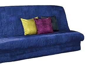 Douceur D'Interieur Click Clack - Funda acolchada para sofá-cama (poliéster, con banda inferior para ajuste), color azul