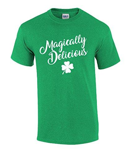 Funny St Patricks Day Magically Delicious Script Graphic T-Shirt-XXL Irish Green