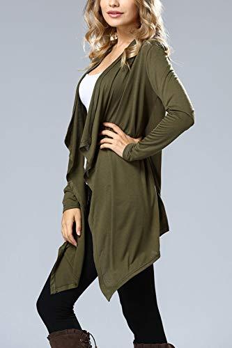 de con la Delantera Abierta con Pliegues Verde Parte Larga Cuello Blusa Chaqueta Chal de Mujer Musfeel en qxw0I6Hvz