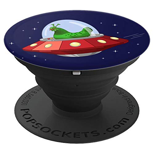 Funny Green Alien Martian Chicken In Flying Saucer PopSockets Grip and Stand for Phones and Tablets (Mars Flying Saucer Disc)