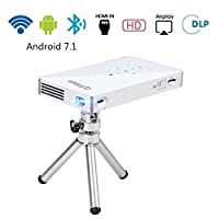 PTVDISPLAY Pico Pocket Mini Projector, 1080P WiFi Theater Smart Video DLP Projector Support Android 7.1 System Bluetooth HDMI USB TF Card for Home Cinema, Wireless Display for iPhone (Silver)