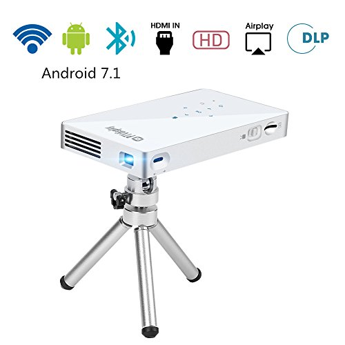 PTVDISPLAY Mini HD Pico Pocket Projector for iPhone, Android 7.1 Wireless Bluetooth WiFi Projector, 100ANSI 1080P DLP Portable Video Projectors with Auto Keystone Support HDMI USB TF Card