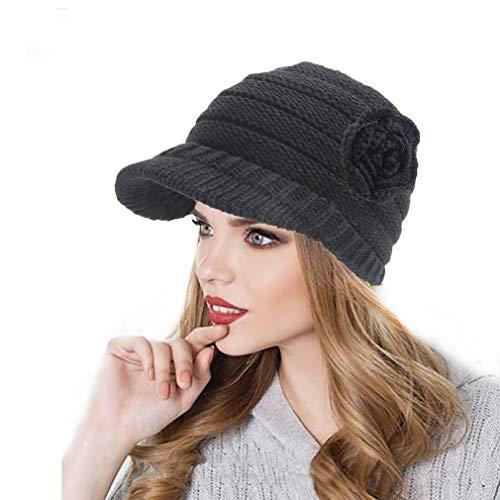 9b39ef3d60c Orityle Winter Flower Knitted Hats Slouchy Beret Snow Ski Skull Caps with  Visor for Women Girls