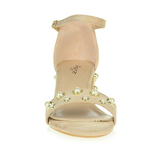 Moyen Bal Dames Soir Nu Confort Fête Talon Sandales Sangle Le Bloquer Chaussures Perle perlée Cheville de Décontractée Taille Femmes de zSpnx4z