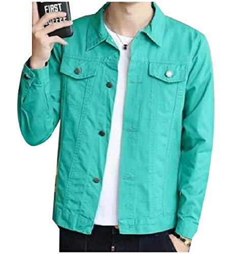 Coat Green Colored RkBaoye Jacket Button Denim Turn Mens Collar Down Solid qPvzqw