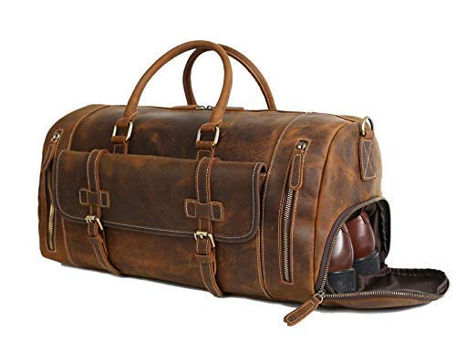 (SANAS.VIP (100% FULL GRAIN GENUINE THICK REAL LEATHER) [ DUFFEL ] BRIEFCASE [ MESSENGER ] BACKPACK BAGS ] Travel Overnight Weekender Sports Gym Luggage for Men & Women (LJ1188-20 inch-Vintage)