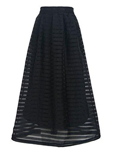 PERSUN Womens Black Stripe Overlay