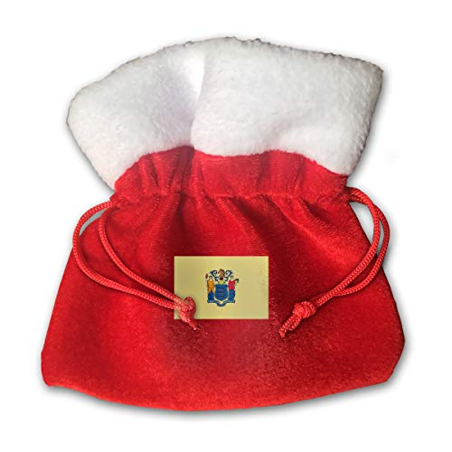 CYINO Personalized Santa Sack,Flag of New Jersey Portable Christmas Drawstring Gift Bag (Red) -