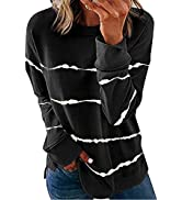 Biucly Womens Casual Crewneck Tie Dye Sweatshirt Striped Printed Loose Soft Long Sleeve Pullover ...