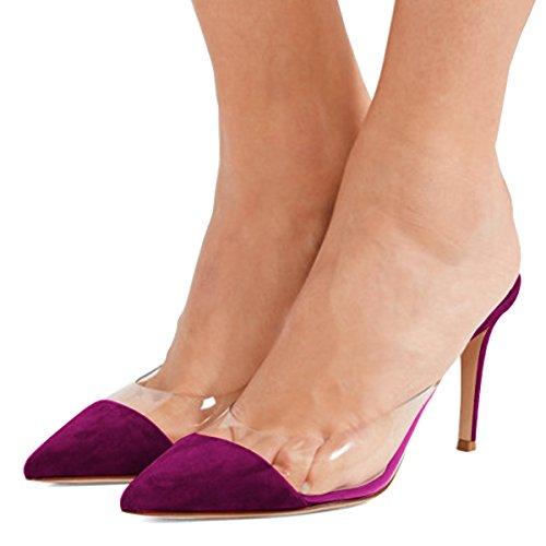 Fsj Kvinnor Mode Tydliga Spetsiga Sandaletter Låga Klackar Mules Halka På Stilett Sexiga Skor Storleks 4-15 Oss Lila