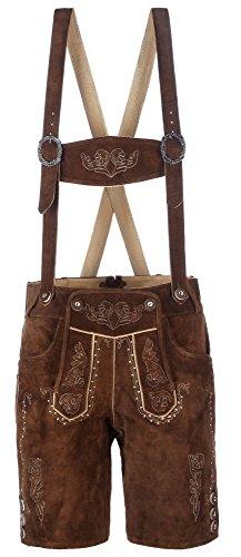 hochwertige kurze Herren Trachten-Lederhose aus Echtleder mit traditioneller Stickerei, braun/mittelbraun, Größe 56