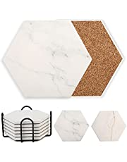 LotFancy Coasters for Drinks Absorbent, 6 Pcs Hexagon Ceramic Coasters with Holder, White Marble Coasters with Non-Slip Cork Base, Housewarming Man Cave Bar Decor Hostess Gifts