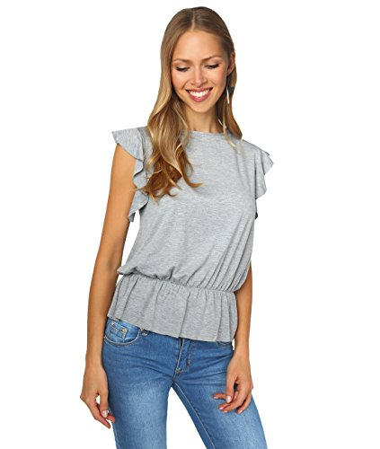 - Krisp Women Casual Ruffle Frill Sleeve Loose Tee Shirt Top Blouse (Grey [5078], US 6 / UK 10),[5078-GRY-10]