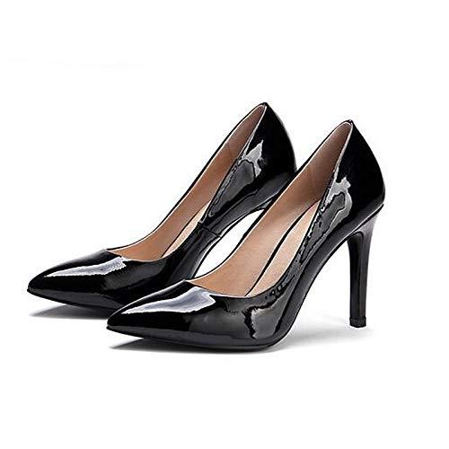 ZHZNVX Heels Shoes Women's Heel Patent Wine Comfort Black White Stiletto Summer Wine Leather YZZxqn8
